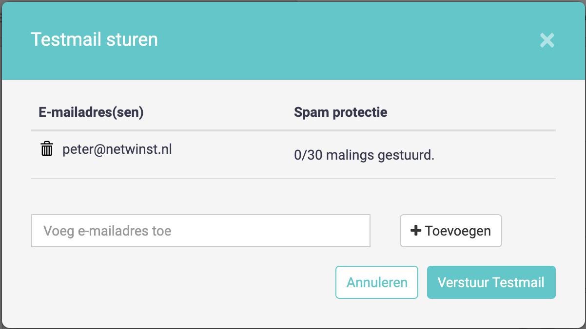 e-mail testmail verzenden