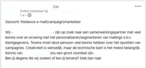e-mail marketing vacature