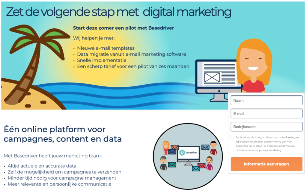 Marketing tool landingspagina met Unbounce