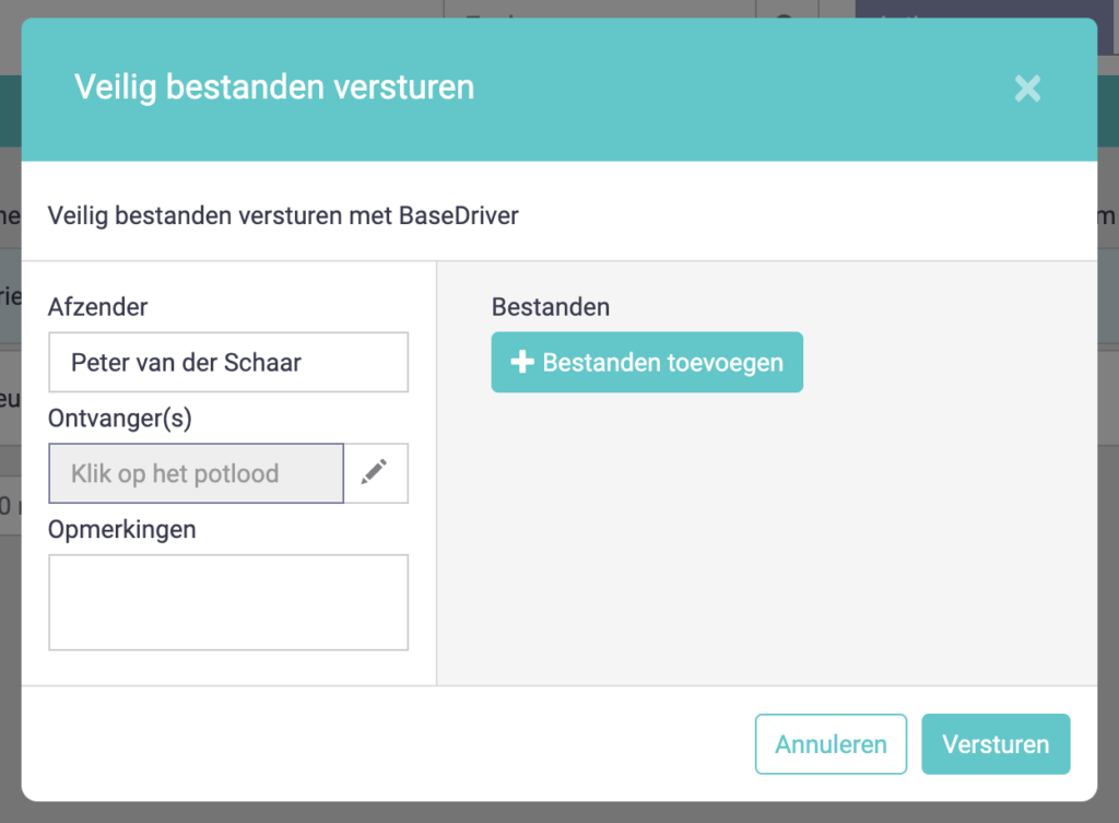 Pop-up bestanden versturen