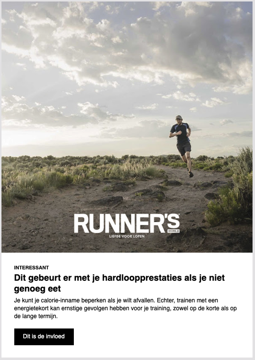 Voorbeeld dagelijkse runners world nieuwsbrief