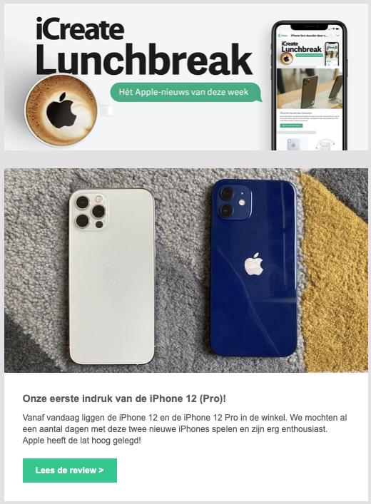 Nieuwsbrief voorbeeld iCreate lunchbreak