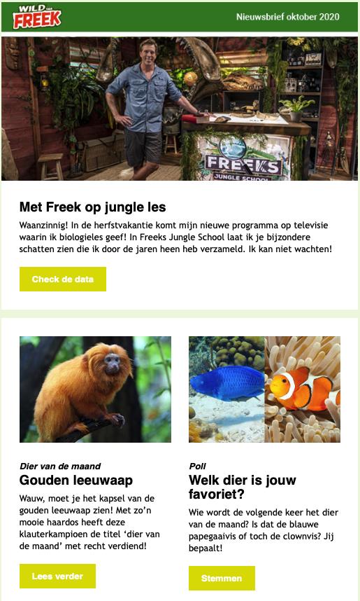 Nieuwsbrief voorbeeld wild van Freek