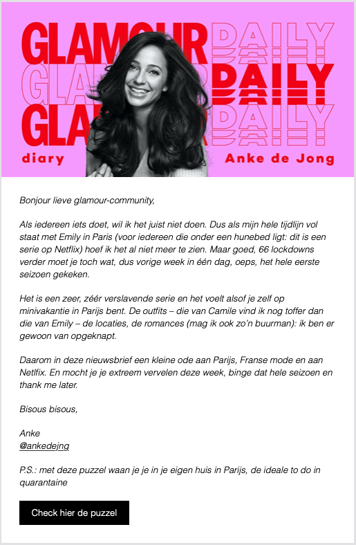 Nieuwsbrief voorbeeld Glamour Daily Diary