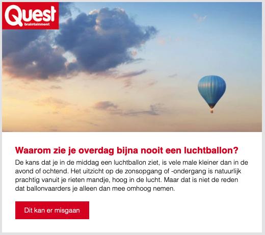 Nieuwsbrief voorbeeld Quest