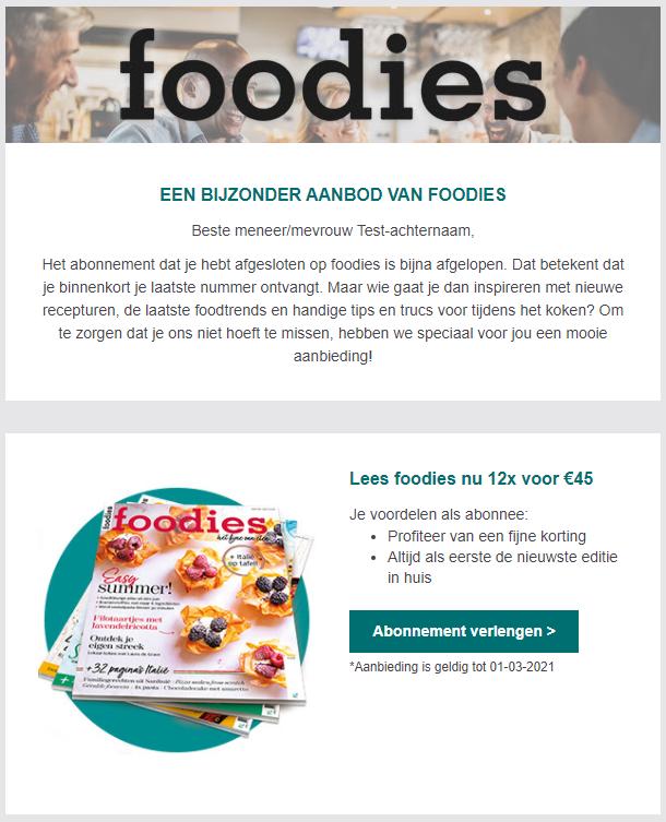 Retentie campagne voorbeeld Foodies