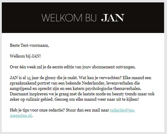 Welkomstmail voorbeeld Jan