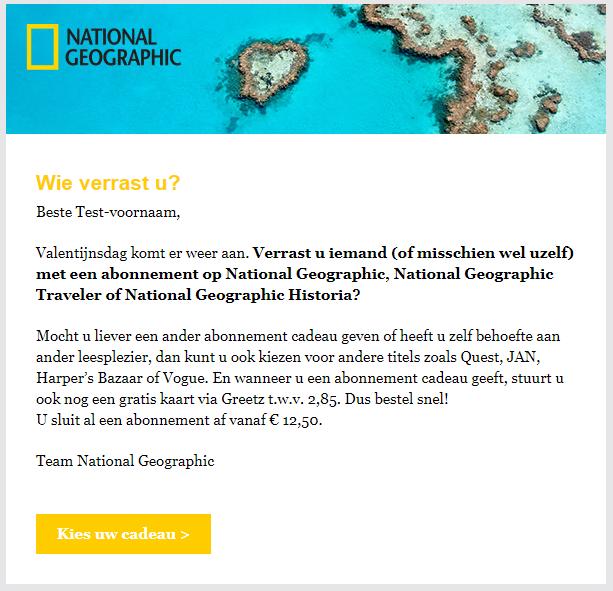 Valentijn mailing voorbeeld National Geographic