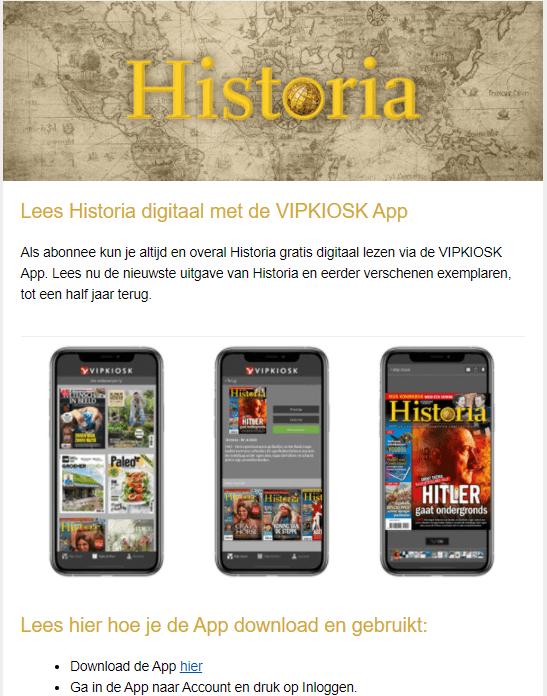 Welkomstmail voorbeeld Historia