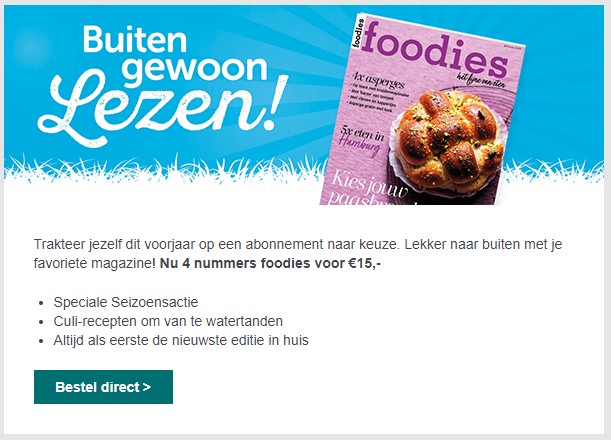 Acquisitie mail voorbeeld Foodies